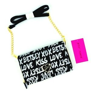 Betsey Johnson Women's X-body Black Jaquard Logo